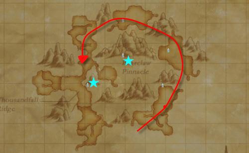 ウルガラン地図 ざっくり言うとこんな感じで移動する