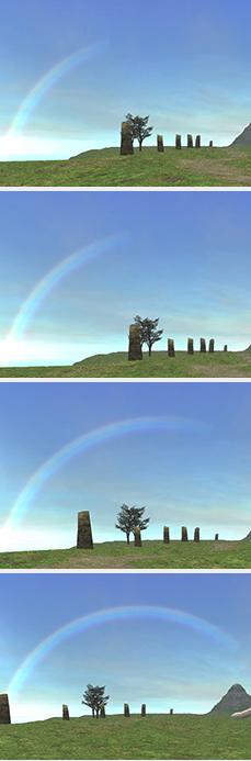 虹のかかる様子