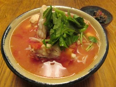 オニカサゴのトマトにゅう麺三つ葉1