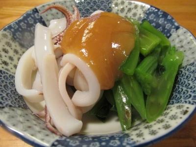 ヤリイカとツルムラサキの酢味噌和え1