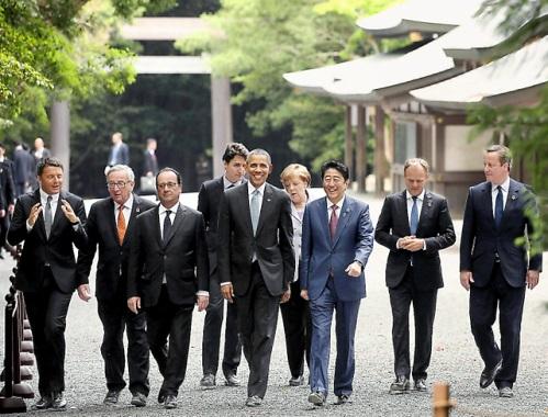5月27日 朝日 G7首脳伊勢神宮の参道を