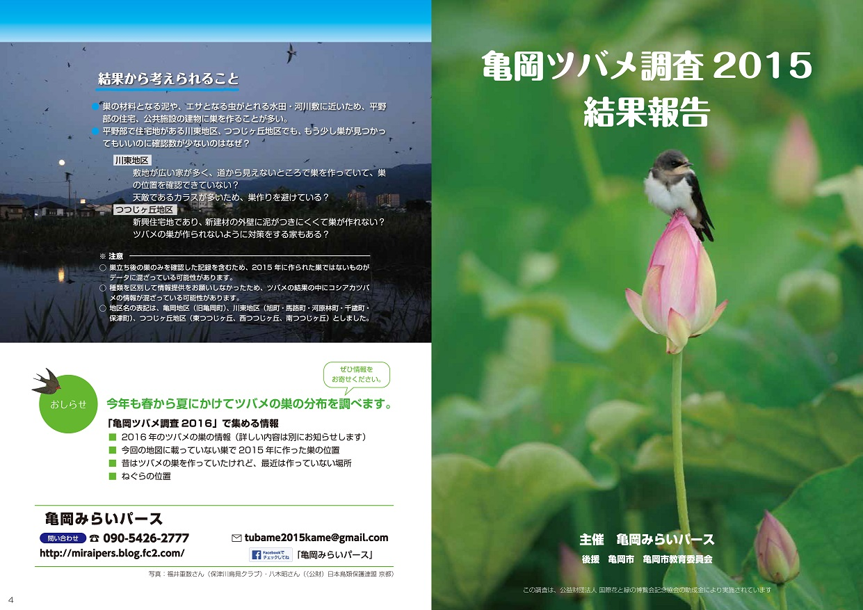 亀岡ツバメ調査2015(表紙・裏表紙)