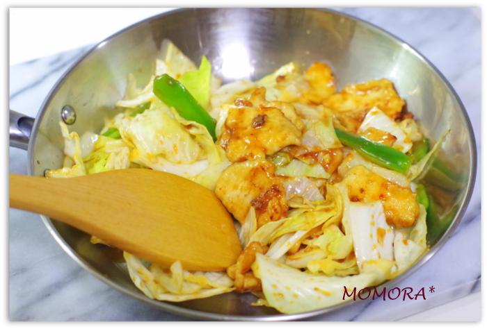 鶏胸肉の回鍋肉手順 (4)