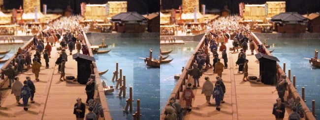 江戸東京博物館 両国橋西詰 ジオラマ模型②(交差法)