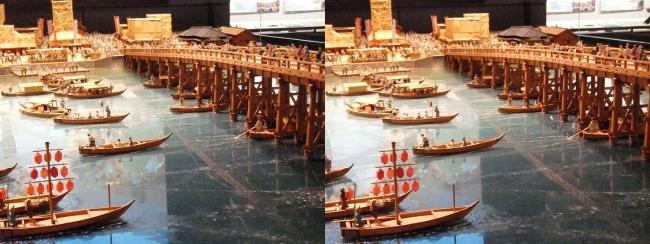 江戸東京博物館 両国橋西詰 ジオラマ模型①(交差法)