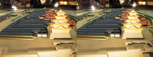 江戸東京博物館 幕末の江戸城 本丸・二丸御門 模型②(平行法)
