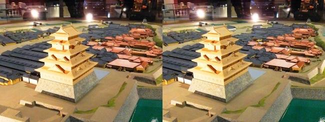 江戸東京博物館 幕末の江戸城 本丸・二丸御門 模型①(平行法)