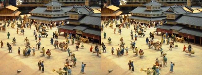 江戸東京博物館 寛永の町人地ジオラマ模型⑥(平行法)