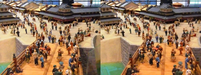 江戸東京博物館 寛永の町人地 ジオラマ模型②(交差法)