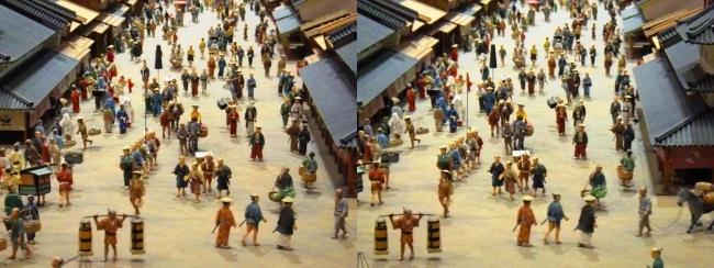 江戸東京博物館 寛永の町人地 ジオラマ模型①(平行法)