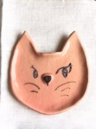 1604猫顔お皿ピンク1