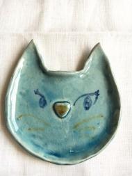 1604猫顔お皿ブルー1