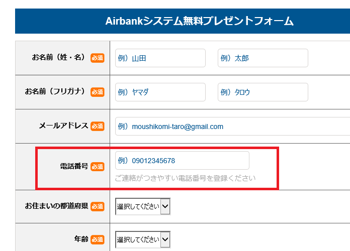AirBankシステムプレゼントフォーム