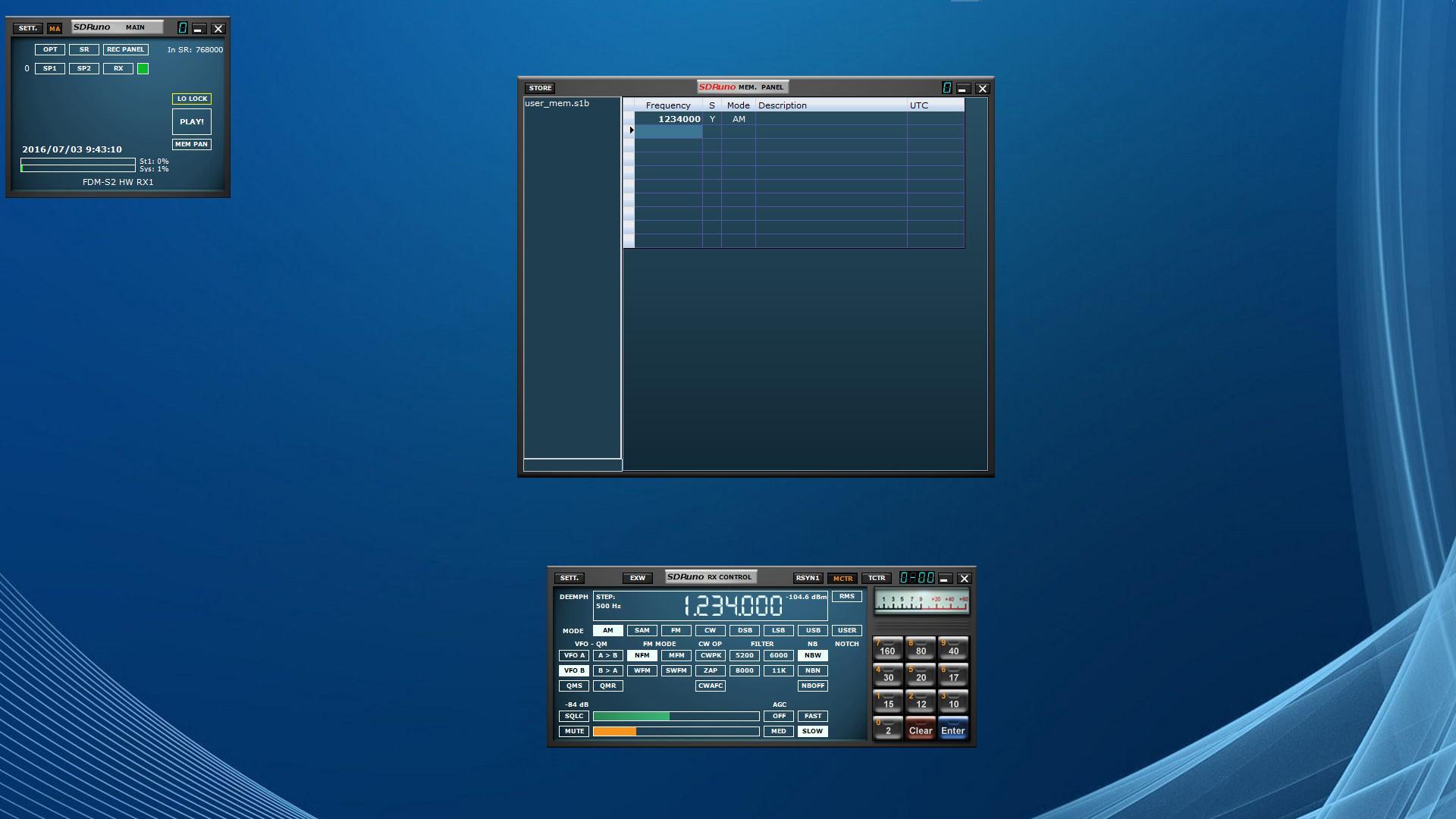 SDRuno メモリパネルへの書き込み操作 - SDR