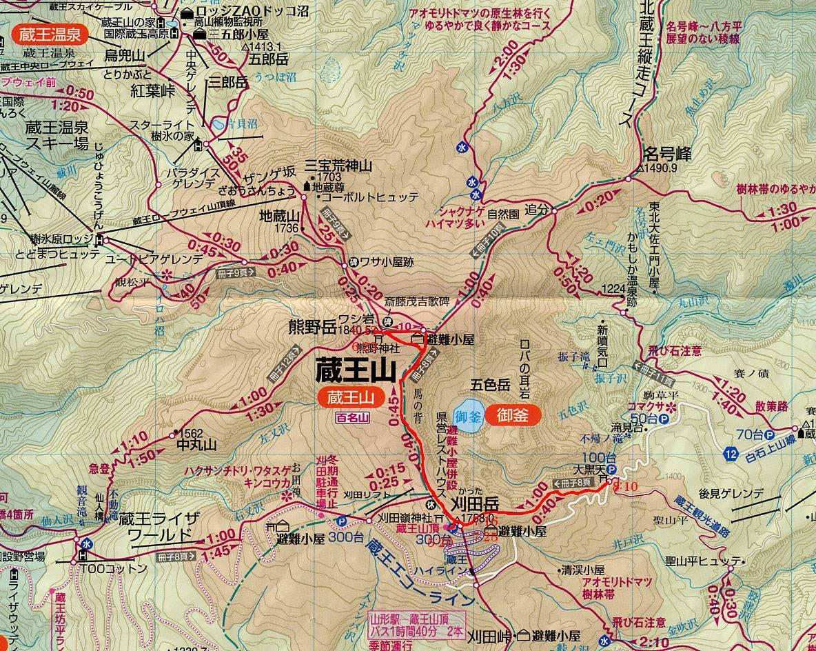 刈田岳 熊野岳 コース