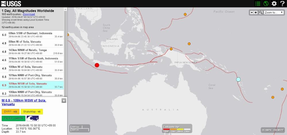 【バヌアツの法則】バヌアツ付近でまたも「M6.9」と「M5.3」の地震発生…インドネシアでも「M6.0」の地震