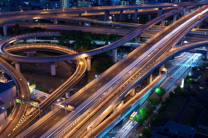 東大阪市役所から東大阪JCTの夜景