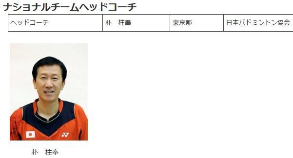 ⑧闇カジノバドミントン日本代表ヘッドコーチは朴柱奉(パク・ジュボン)韓国朝鮮人だった!