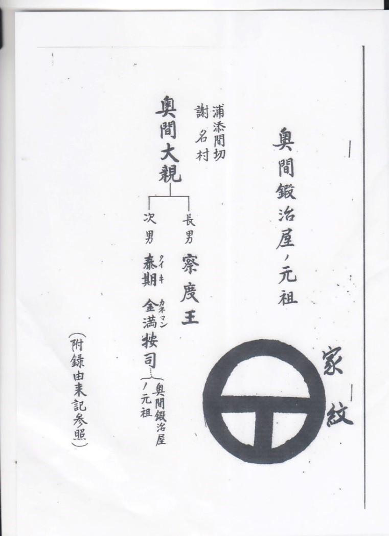 奥間鍛冶屋の系図
