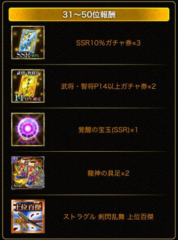 剣閃50位報酬