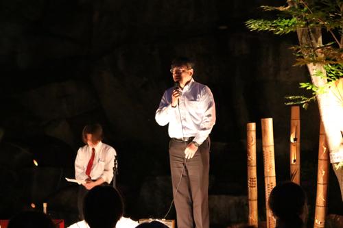 昇仙峡 仙娥滝 ライトアップと竹灯籠のあかり  甲府市観光課様ご挨拶