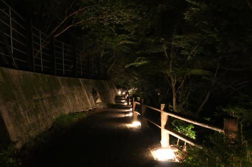 昇仙峡 仙娥滝 ライトアップと竹灯籠のあかり 仙娥滝から金渓館までの道のり (9)