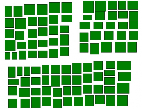緑のまとまりが3つ