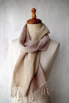 手紡ぎ手織りストール2