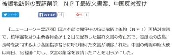 news被爆地訪問の要請削除 NPT最終文書案、中国反対受け