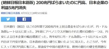 news(朝鮮日報日本語版) 200兆円ばらまいたのに円高、日本企業の利益5兆円消失
