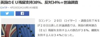 news英国のEU残留支持38%、反対34%=世論調査