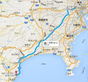 map東京都庁 から 神奈川県足柄下郡湯河原町