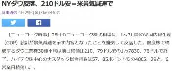 newsNYダウ反落、210ドル安=米景気減速で