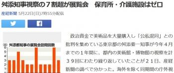 news舛添知事視察の7割超が展覧会 保育所・介護施設はゼロ