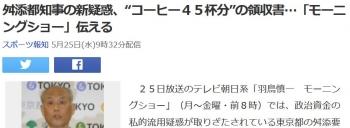 """news舛添都知事の新疑惑、""""コーヒー45杯分""""の領収書…「モーニングショー」伝える"""