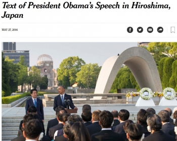 newsText of President Obama's Speech in Hiroshima, Japan