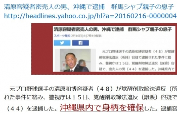 ten清原容疑者密売人の男、沖縄で逮捕 群馬シャブ親子の息子
