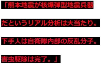 ten「熊本地震が核爆弾型地震兵器だというリアル分析は大当たり。下手人は自衛隊内部の反乱分子。害虫駆除は完了。」