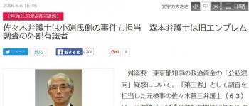 news佐々木弁護士は小渕氏側の事件も担当 森本弁護士は旧エンブレム調査の外部有識者