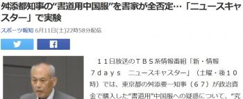 "news舛添都知事の""書道用中国服""を書家が全否定…「ニュースキャスター」で実験"