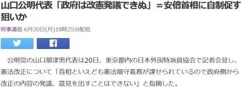 news山口公明代表「政府は改憲発議できぬ」=安倍首相に自制促す狙いか