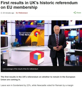 newsFirst results in UKs historic referendum on EU membership