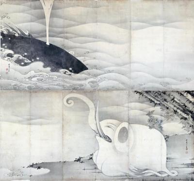 象鯨図屏風