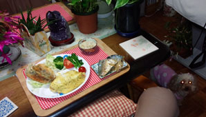 簡単晩御飯 オムライス 鯖煮 アジフライ 豆腐煮物