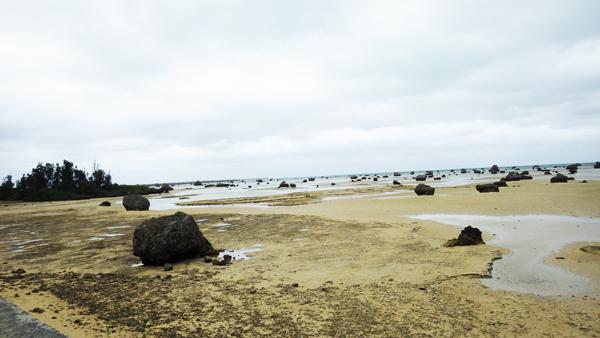 佐和田の浜 砂場にも岩