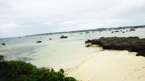 佐和田の浜ズッと遠くまで岩