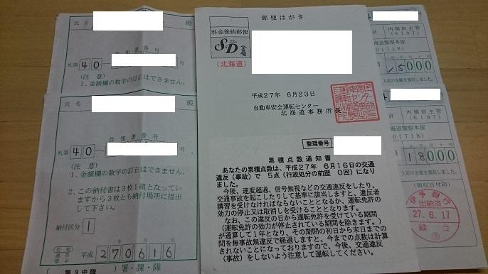 北海道交通違反1年後