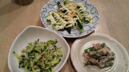 きゅうり・インゲン料理