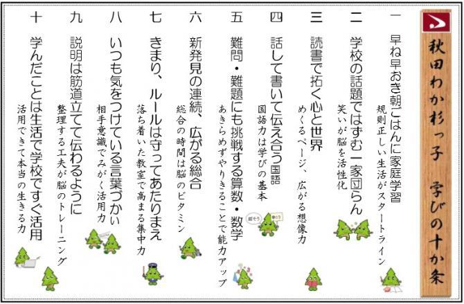 秋田わか杉っ子学びの十か条