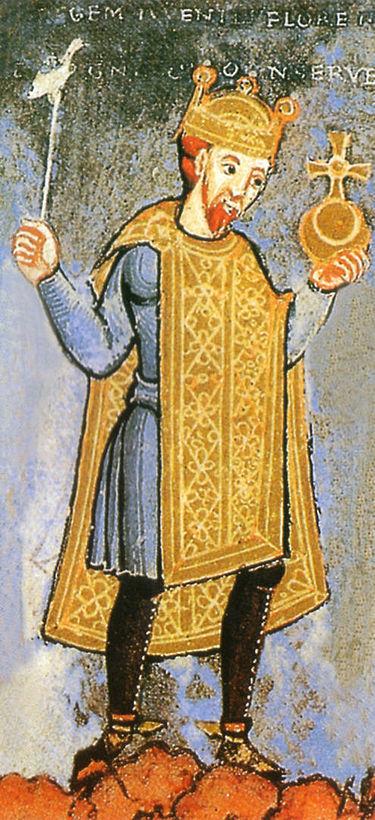 支配者の地位のシンボルを持つ神聖ローマ皇帝ハインリヒ3世